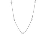 14k White Gold 6-7mm White Freshwater Pearl Station Necklace 18""