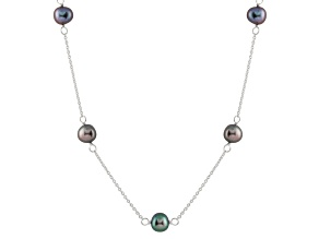 Rhodium Over Sterling Silver 7-8mm Black Freshwater Pearl Necklace 18