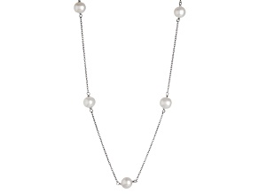 Rhodium Over Sterling Silver 7-8mm White Freshwater Necklace 18