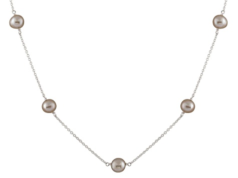 Rhodium Over Sterling Silver 7-8mm Grey Freshwater Pearl Tin Cup Necklace 18""