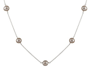 Rhodium Over Sterling Silver 7-8mm Grey Freshwater Pearl Tin Cup Necklace 18