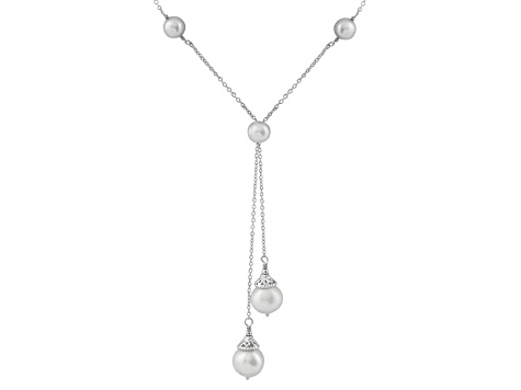 Rhodium Over Sterling Silver 6-9mm White Freshwater Pearl Necklace 16