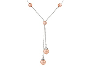 Rhodium Over Sterling Silver 6-9mm Pink Freshwater Pearl Necklace 16