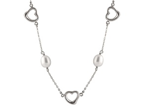 Rhodium Over Sterling Silver 7-8mm White Freshwater Pearl And Station Necklace 17""