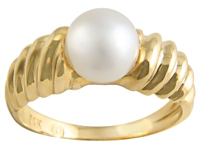 White Cultured Japanese Akoya Pearl 14k Yellow Gold Ring 7-8mm