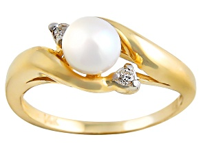 Cultured Japanese Akoya Pearl And Diamond 14k Yellow Gold Ring 5-6mm