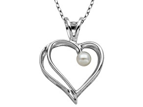 2.5-3mm White Cultured Freshwater Pearl Silver Heart Pendant With 18