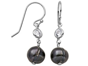 8-9mm Enhanced Cultured Freshwater Pearl/Bella Luce® Silver Dangle Earrings