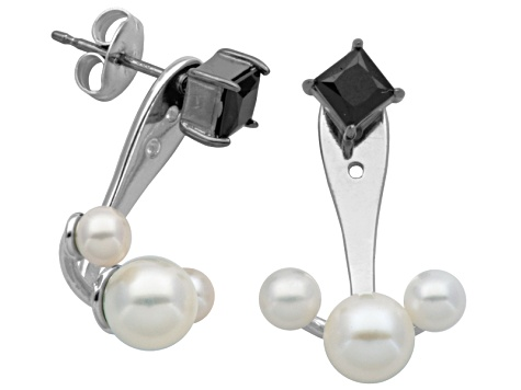 3.5-6mm Cultured Freshwater Pearl/4 mm Square Spinel Gunmetal & Silver Stud Earrings W/Jacket