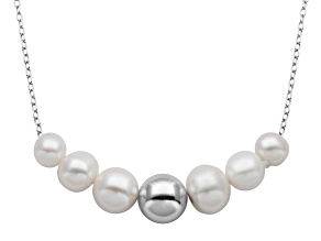 4-8mm Cultured Freshwater Pearl Sterling Silver Ball Graduated Necklace 18