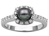 5mm Black Enhanced Cultured Freshwater Pearl/Bella Luce® Silver Halo Ring