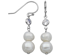 5-9mm White Cultured Freshwater Pearl/Bella Luce® Silver Dangle Earrings