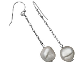 10-11mm Gray Cultured Freshwater Pearl Sterling Silver Dangle Earrings