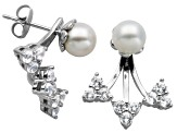 6mm Cultured Freshwater Pearl Silver Studs With Lab Created Sapphire Earrings Jackets