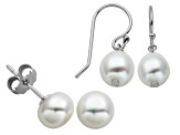 7-9mm White Cultured Freshwater Pearl Sterling Silver Earring Set Of 2