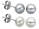 7-7.5mm White And Gray Cultured Freshwater Pearl Silver Stud Earring Set Of 2