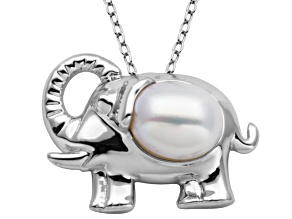 "7.5-8mm White Cultured Freshwater Pearl Silver Elephant Pendant With 18"" Chain"