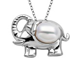 7.5-8mm White Cultured Freshwater Pearl Silver Elephant Pendant With 18