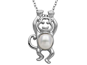 5.5-6mm White Cultured Freshwater Pearl Silver Monkey Pendant With 18