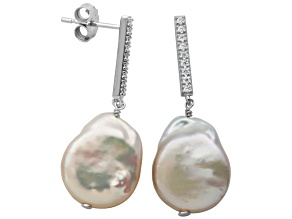 11-13mm Drop Coin Cultured Freshwater Pearl/Bella Luce® Silver Dangle Earrings