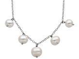 6-9mm White Cultured Freshwater Pearl Sterling Silver Station Necklace 18
