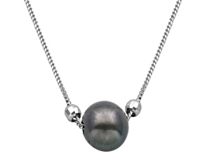 8-9mm Black Enhanced Cultured Freshwater Pearl Sterling Silver Necklace 18