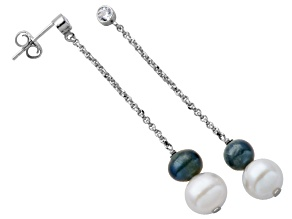 6-8mm Enhanced Cultured Freshwater Pearl/ Bella Luce® Silver Dangle Earrings