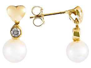 5-6mm White Cultured Freshwater Pearl & .10ctw Diamond 14k Yellow Gold Earrings