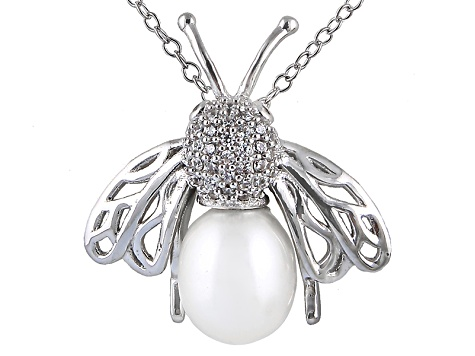 8-9mm White Cultured Freshwater Pearl & Bella Luce® Silver Pendant With Chain