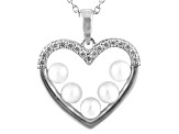 3-4mm White Cultured Freshwater Pearl & Bella Luce® Silver Pendant With Chain