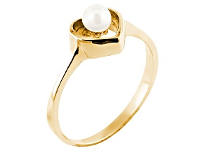 4-5mm White Cultured Freshwater Pearl 14k Yellow Gold Heart Ring