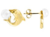 5-6mm White Cultured Freshwater Pearl 14k Yellow Gold Dolphin Earrings