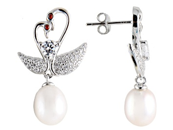 Picture of 7-8mm Cultured Freshwater Pearl & Bella Luce® Rhodium Over Silver Earrings