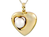 8-9mm White Cultured Freshwater Pearl 14k Yellow Gold Pendant With Chain