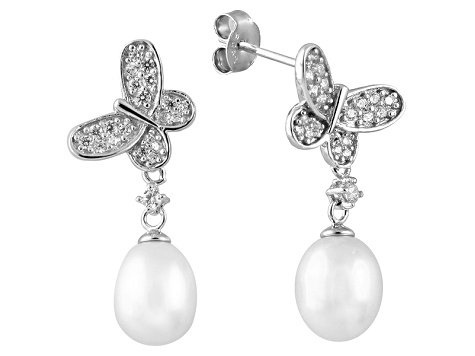 7-8mm Cultured Freshwater Pearl & Bella Luce® Rhodium Over Silver Earrings