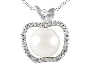 9-10mm Cultured Freshwater Pearl & Bella Luce® Silver Pendant With Chain