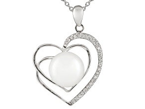 11-12mm Cultured Freshwater Pearl & Bella Luce® Silver Pendant With Chain