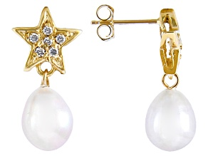 7-8mm White Cultured Freshwater Pearl & .12ctw Diamond 14k Yellow Gold Earrings