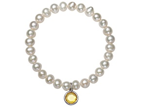 Cultured Freshwater Pearl 7-8mm With Cubic Zirconia Charm Stretch Bracelet