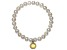 7-8mm Cultured Freshwater Pearl With Bella Luce ® Rhod Over Silver Bracelet