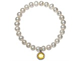Cultured Freshwater Pearl 7-8mm With Yellow Topaz Simulant Charm Stretch Bracelet