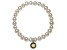 Cultured Freshwater Pearl 7-8mm With Peridot Simulant Charm Stretch Bracelet