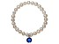 Cultured Freshwater Pearl 7-8mm With Sapphire Simulant Charm Stretch Bracelet