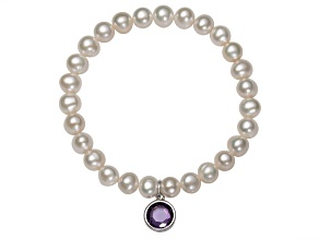 Pearlfection™ 7-8mm Cultured Freshwater Pearl With Cubic Zirconia Charm Stretch Bracelet
