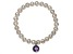 Cultured Freshwater Pearl 7-8mm With Amethyst Simulant Charm Stretch Bracelet