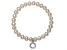 Cultured Freshwater Pearl 7-8mm With Diamond Simulant Charm Stretch Bracelet