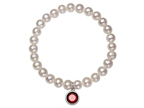 7-8mm Cultured Freshwater Pearl With Bella Luce ® Rhodium Over Silver Bracelet