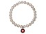 Cultured Freshwater Pearl 7-8mm With Garnet Simulant Charm Stretch Bracelet