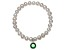 Cultured Freshwater Pearl 7-8mm With Emerald Simulant Charm Stretch Bracelet