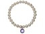 Cultured Freshwater Pearl 7-8mm With Alexandrite Simulant Charm Stretch Bracelet